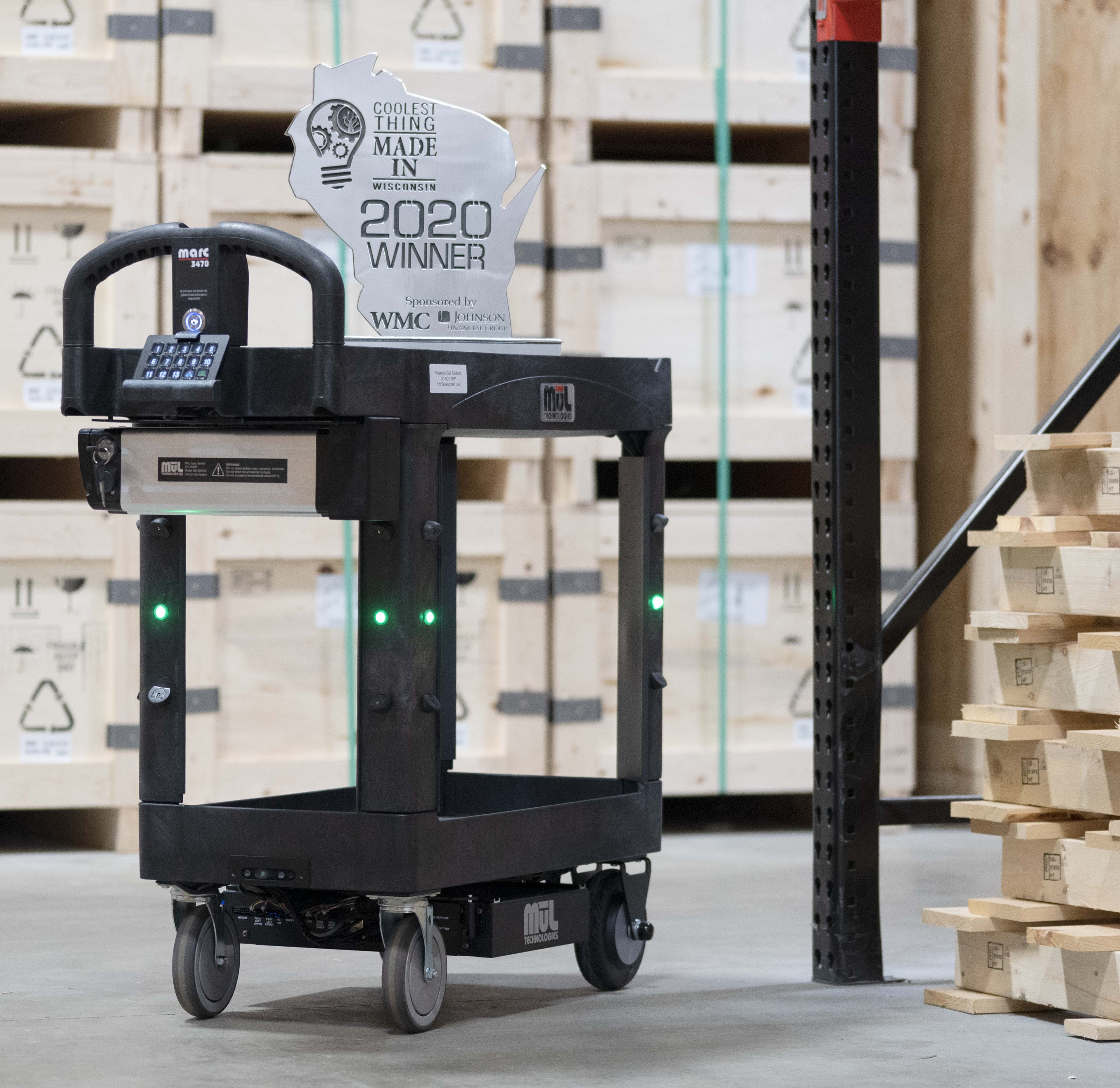 MARC 3470 with trophy in warehouse